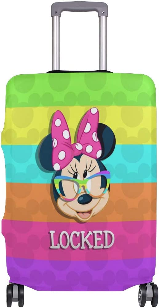 Mickey Mouse Rainbow Travel Luggage Cover Suitcase Protector Fits 26-28 Inch Washable Baggage Covers