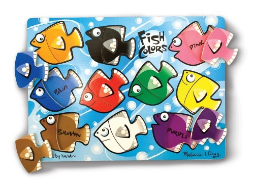 Mix Match Peg Puzzle - Melissa & Doug Fish Colors Mix 'n Match Wooden Peg Puzzle (10 pcs)