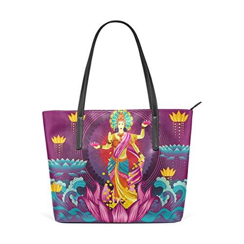 LEISISI Purple Goddess Lakshmi Women's Leather Tote Shoulder Bags Handbags
