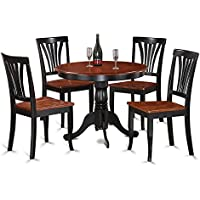 East West Furniture ANAV5-BLK-W 5-Piece Kitchen Table Set, Black/Cherry Finish
