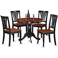 East West Furniture ANAV5-BLK-W 5-Piece Kitchen Table Set, Black/Cherry Finish