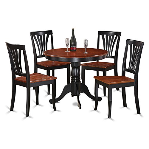 5 Piece Cherry Finish Wood - East West Furniture ANAV5-BLK-W 5-Piece Kitchen Table Set, Black/Cherry Finish