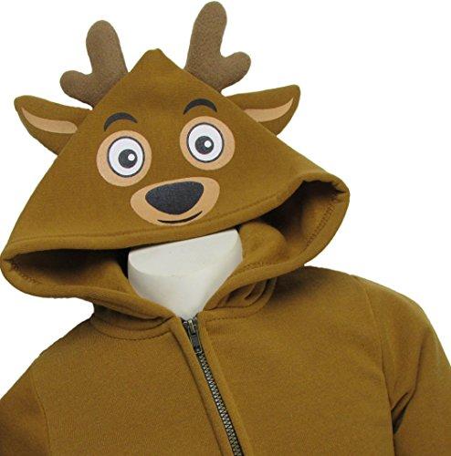 Hoodie Deer Kids Costumes (TODDLER KIDS FULL ZIP FLEECE ANIMAL COSTUME HOODIE SWEATSHIRT (DEER, 3T))