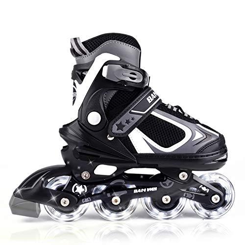 MammyGol Adjustable Inline Skates for Kids with Light up Wheels,Flashing Beginner Roller Skates for Boys and Girls Size 1-4