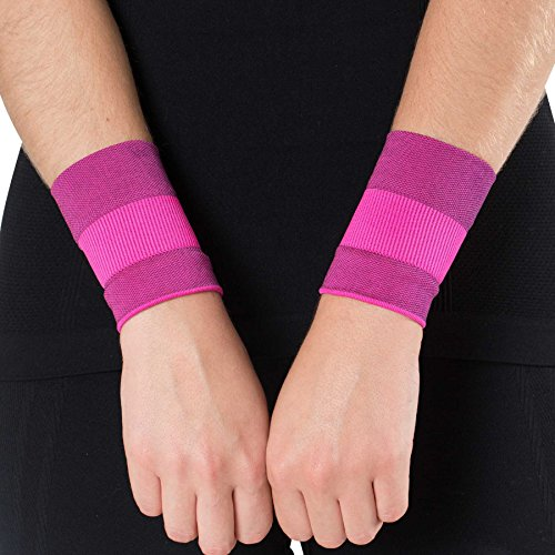 Pure Compression Copper Wrist Support - Best Wrist Sleeve for Carpal Tunnel, Relieve Wrist Pain (Small, Neon Pink)