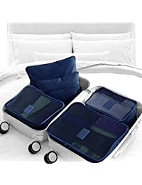 Sattaj 7-Piece Packing Cube Set with Laundry Pouches and Compression Garment Bag, 15 Color Variations - Navy Blue