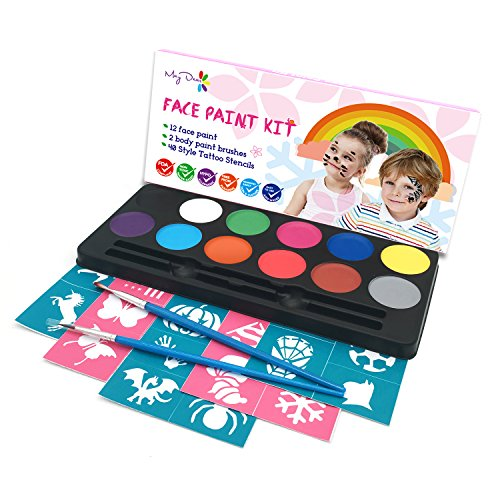Maydear Face Paint Kit for Kids with Safe and None Toxic FDA Compliant Water Based 12 Color Palette Body Paint with 40 Stencils and 2 Brushes ()