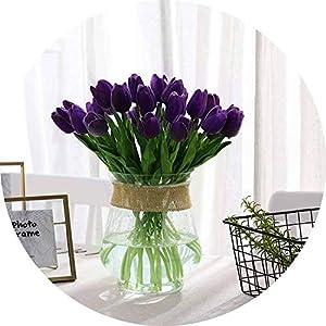 vibe-pleasure 10 Pcs Beauty Real Touch Flowers Latex Tulips Flower Artificial Bouquet Fake Flower Bridal Bouquet Decorate Flowers for Wedding,purple1 5
