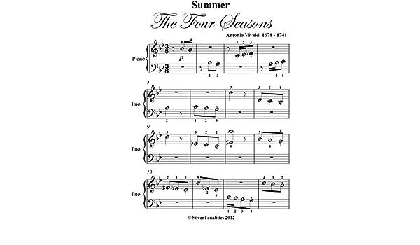 Summer Four Seasons Vivaldi Beginner Piano Sheet Music - Kindle