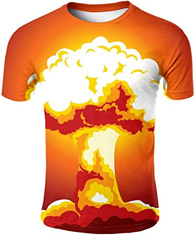 Star source Naranja Seta Nube Personalidad Casual Delgada Cuello Redondo Camisa 3D Manga Corta Camiseta Creativa de Verano Camiseta: Amazon.es: Ropa y accesorios