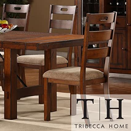 These Rustic Oak Set Of 2 Dining Chairs Give a Classic Feel to Any Dining  Room Furniture Set. Buy Now! Each Armless Chair in This Set of Two Comes in  ...
