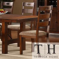 These Rustic Oak Set Of 2 Dining Chairs Give a Classic Feel to Any Dining Room Furniture Set. Buy Now! Each Armless Chair in This Set of Two Comes in a Dark Oak Finish to Bring Out the Traditional Style.