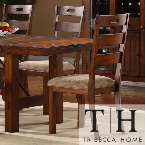 These Rustic Oak Set Of 2 Dining Chairs Give a Classic Feel to Any Dining Room Furniture Set. Buy Now! Each Armless Chair in This Set of Two Comes in a Dark Oak Finish to Bring Out the Traditional Style. (Rustic Dining Room Furniture Sets)