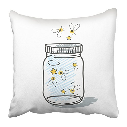 (Emvency Throw Pillow Covers Print 16 x 16 Inch White Firefly Cute of Mason Jar Filled with Fireflies Summer Dreams Wedding and Romance Concept Bug Square Zipper Polyester Home Sofa)