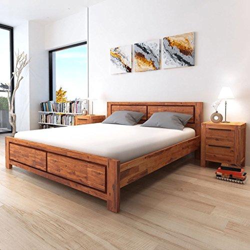 Festnight Vintage Wood Bed Frame Solid Acacia Wood Brown ,King Size