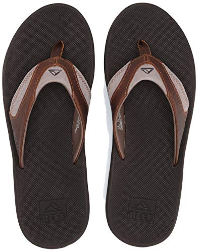 Reef Men's Leather Fanning Sandal, Brown 4, 11