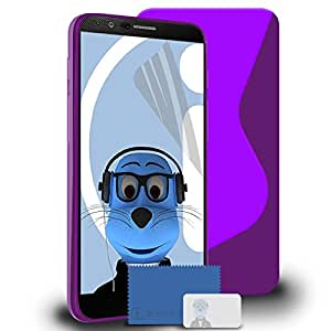 iTALKonline LG G4 H815 Purple TPU S Line Wave Hybrid Gel Skin Case Protective Jelly Cover with 3 Layer LCD Screen Protector