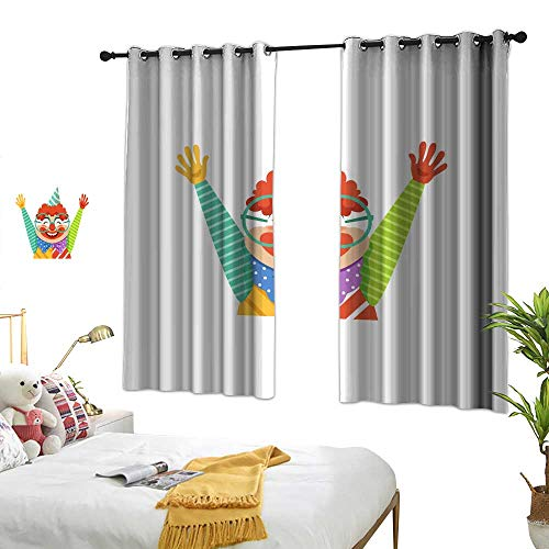 wwwhsl Superior Room Bedroom Curtains Funny Circus Clown in Traditional Makeup and Glasses Cartoon Friendly Clown in Classic Outfit Vector Illustration Room Decoration Ideas W96.4 -