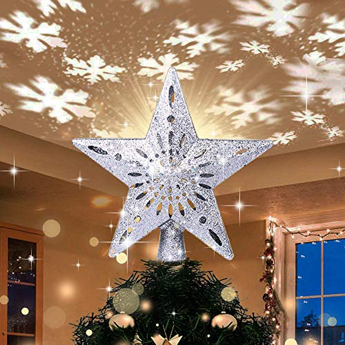 Yostyle Christmas Tree Topper Lighted with LED Snowflake Projector Lights, Lighted Star Tree Topper for Christmas Tree Decorations