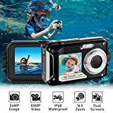 Waterproof Digital Camera Full HD 1080P Underwater Camera 24MP Video Recorder Camcorder Point and Shoot Camera Selfie Dual Screen Waterproof Camera for Snorkeling Black-with USB Cable