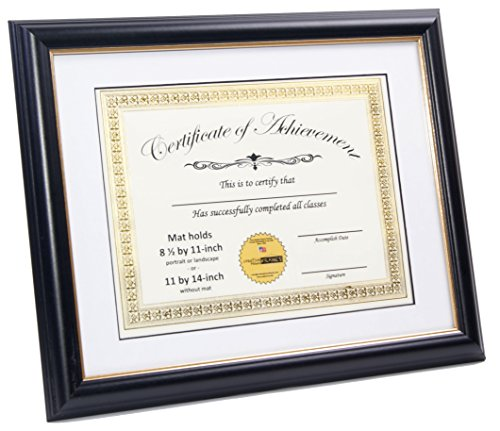 CreativePF [8UIL-11x14bk/gd] Black Certificate Frame Displays 8.5 by 11-inch Certificates with Mat or 11 by 14-inch Media, Certificates, University, Diploma Frames with Stand & Wall Hanger - 14bk Satin