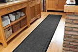 The Rug House Plain Grey Rubber Backed Very Long Hallway Runner Rugs - Sold And Priced Per Foot - 2' 2'' Wide