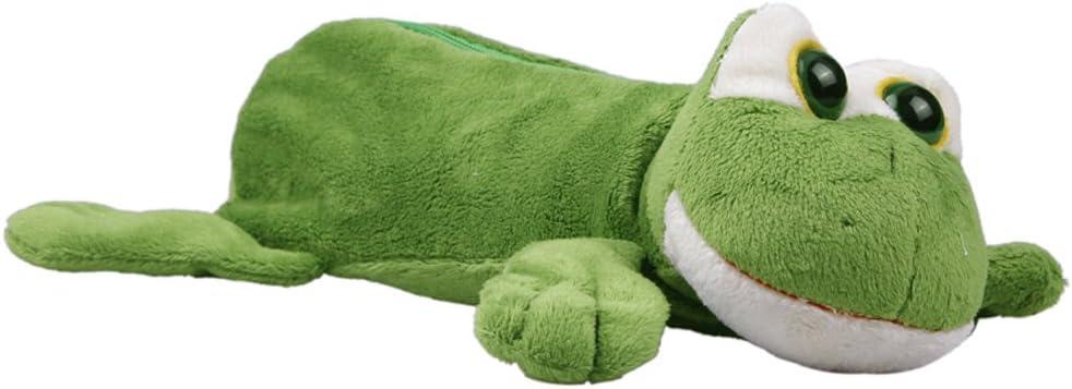 YueLian Green Frog Cute Cartoon Pencil Case Bags Plush Large Capacity Stationery Pen Box