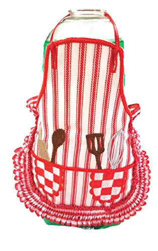 (Red Ruffle Kitchen Bottle Apron Country)