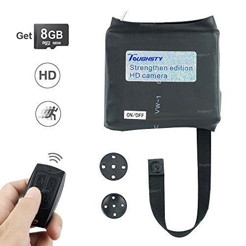 (Toughsty 8GB Mini Spy Shirt Button Camera Recorder Small Body Worn 13 Hours Long Recording Time Motion Detective)