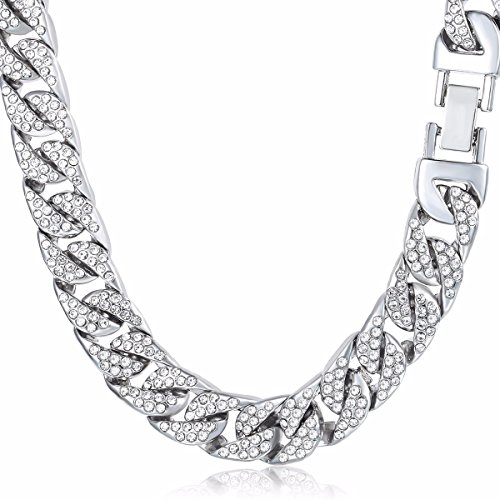 Davieslee Mens Womens Necklace Chain Hiphop Iced Out Curb Cuban White Gold Plated w/ Clear Rhinestones Necklace 29.92inch