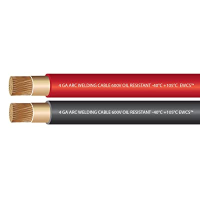 EWCS 4 Gauge Premium Extra Flexible Welding Cable 600 Volt 10 Feet Each Black+Red