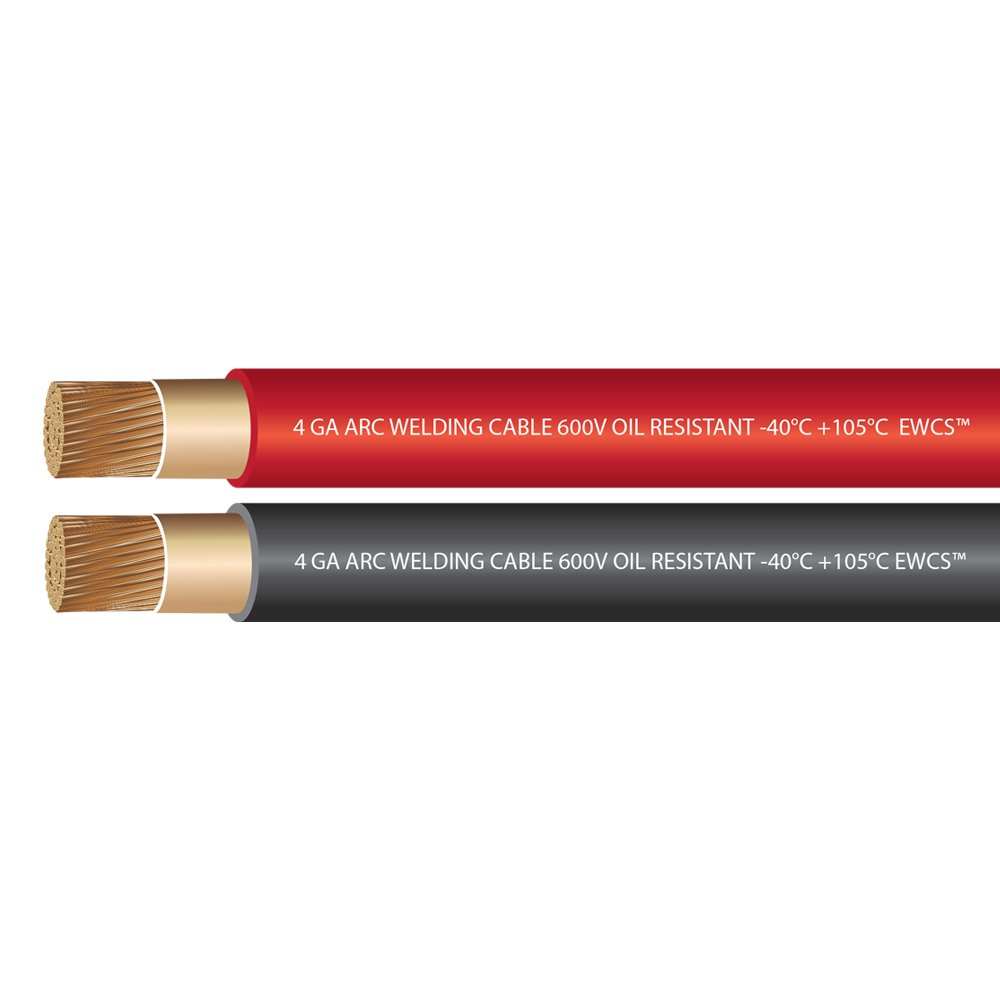 EWCS 4 Gauge Premium Extra Flexible Welding Cable 600 Volt - Combo Pack -10 Feet Each Black+Red - Made in the USA by EWCS