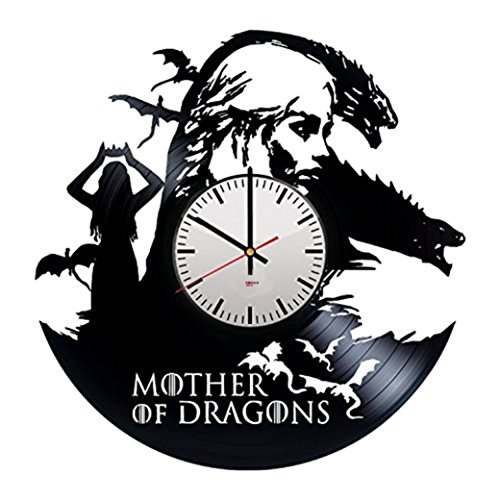 Mother of Dragons Vinyl Record Wall Clock – Get unique bedroom wall decor – Gift ideas for men and women – Game of Thrones Unique Art Design – Leave us a feedback and win your custom clock