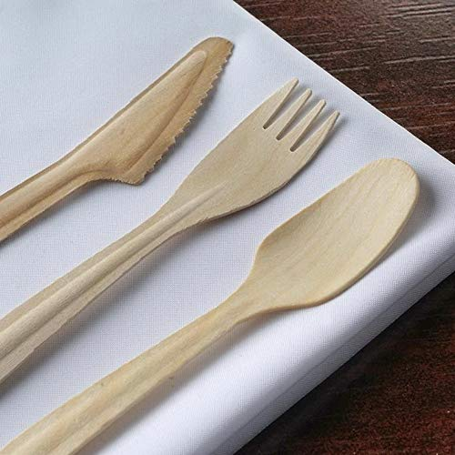Mikash Disposable Natural Birchwood Long Handle Spoons Party Wedding Silverware Sale | Model WDDNGDCRTN - 12762 | 400 Pieces ()
