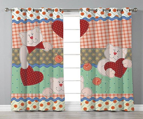 Thermal Insulated Blackout Grommet Window Curtains,Shabby Chic Decor,Funny Teddy Bears with Hearts Patchwork Style Cute Kids Playroom Print Decorative,Multicolor,2 Panel Set Window Drapes,for Living - Curtains Shabby Patchwork