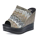 Muk Luks Women's Peyton Wedge Sandals, Grey Polyester, Cotton, 9 M