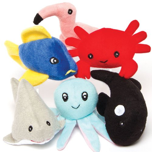 (Baker Ross Sealife Animals Bean Plush Pals Perfect Party Bag Stuffer and Cuddly Toy for Children to Play with (Pack of 6))