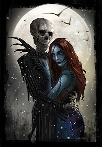 Tim Burton Nightmare Before Christmas Artwork.Jack And Sally Tim Burton S Nightmare Before Christmas Movie Canvas Poster