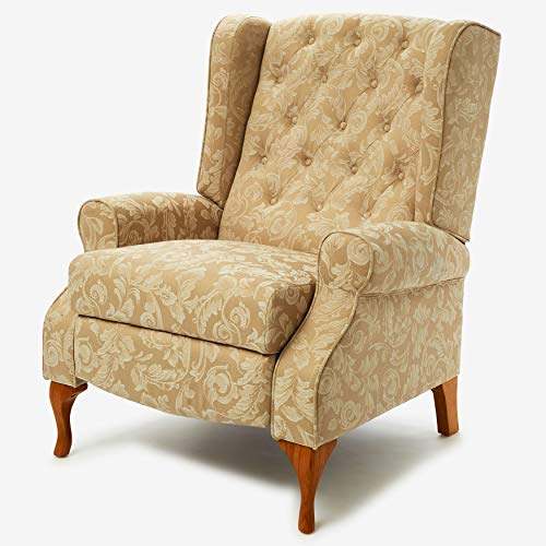 (BrylaneHome Queen Anne Style Tufted Wingback Recliner - Taupe Damask)