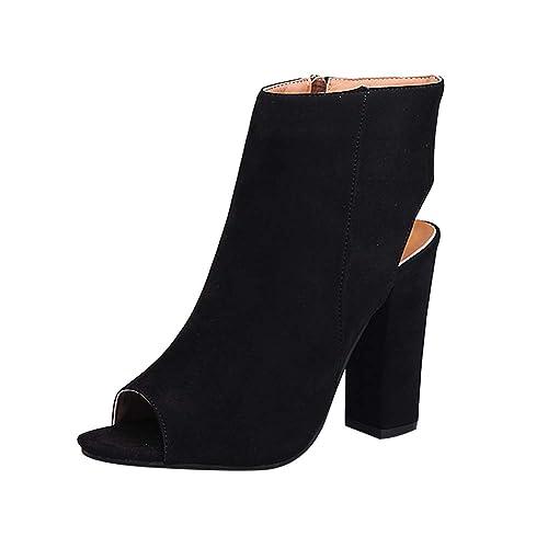 Yudesun Zapatos para Mujer Botas - Tacón Alto Punta Abierta Botines Cremallera Lateral Peep Toe Espalda Abierta Plataforma Delgado Sandalias de Vestir: ...
