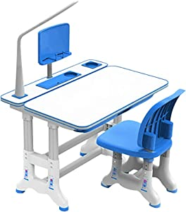 Children Desk Height Adjustable Kids Study Table and Chair Set Ergonomic Design School Student Writing Desk Tilt Desktop Desk and Chair Set with LED Light, Drawers Storage