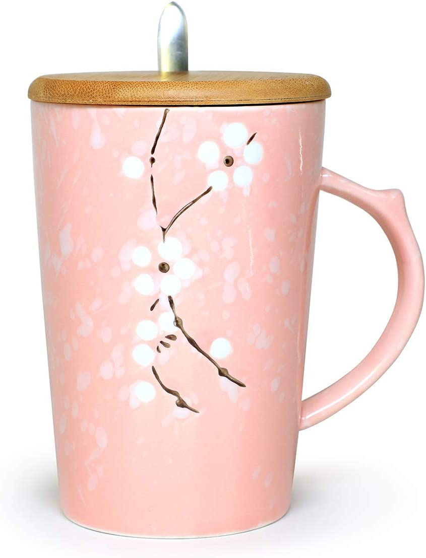Ceramic Mug Floral Design with Spoon and Wood Lid Fine Porcelain Perfect for Coffee, Tea, Beverage (Blossom)
