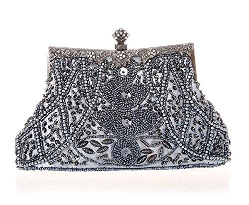 Clutch Bridal Seed Handmade Bag Silvery Party Handbag Purse Vintage Beaded Handheld Evening Wedding Cocktail Wallet Grey xHBwvqIAq