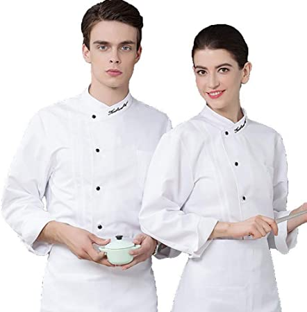R/ésistant aux Taches easyClean Veste de Cuisine Chef Homme Professionnel Manches Courtes//Longues Style Slim Boutons /à Billes strongAnt/® Coupe Slim