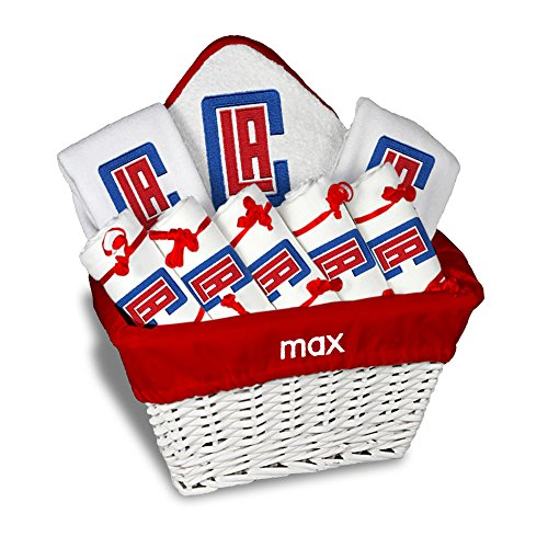 Personalized Los Angeles Clippers Large Baby Gift Basket (Officially Licensed) Includes 5 Burp Cloths, 2 Bibs, 1 Hooded Towel and 1 Wash Mitt ()