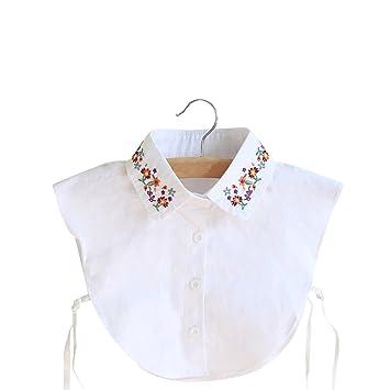 betoper Mujeres Cuello Desmontable mitad Camiseta Blusa en algodón color blanco, Weiss