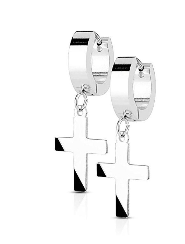 14MM Hoop Earrings Surgical Stainless Steel Rhodium Plated Earrings For Men Women Huggie Hypoallergenic Cross Dangle Hinged Hoop Earrings (Silver)