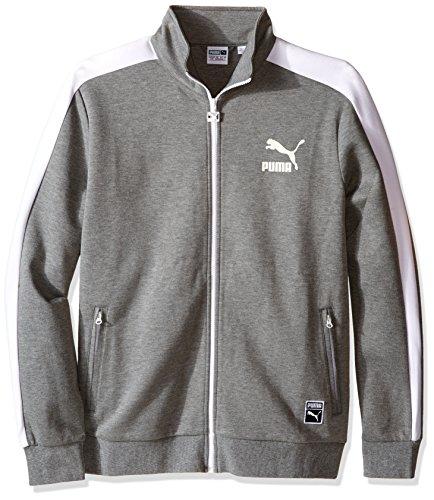 PUMA Men's Archive T7 Track Jacket, Medium Gray Heather, Large