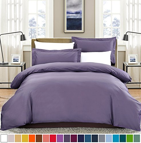 SUSYBAO 100% Natural Cotton 2 Pieces Duvet Cover Set Twin/Single Size 1 Duvet Cover 1 Pillow Sham Lilac/Purple Luxury Quality Soft Breathable Comfortable Fade Stain Resistant Bedding with Zipper Ties (Purple Zipper)