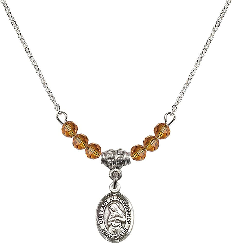 18-Inch Rhodium Plated Necklace with 4mm Topaz Birthstone Beads and Sterling Silver Our Lady of Providence Charm.
